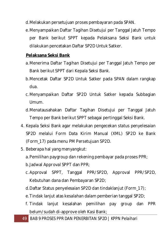 50 BAB 9 PROSES PPR DAN PENERBITAN SP2D   KPPN Pelaihari g. Pembatalan (void) PPR/SP2D dan tindak lanjutnya; h.Format perm...