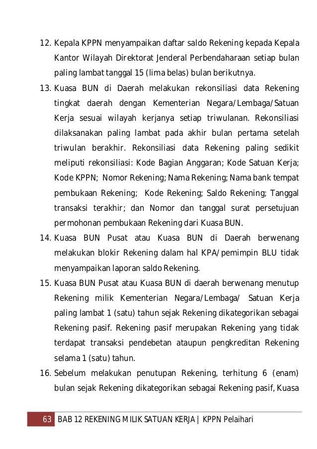 64 BAB 12 REKENING MILIK SATUAN KERJA   KPPN Pelaihari BUN Pusat atau Kuasa BUN di Daerah harus menyampaikan surat pemberi...