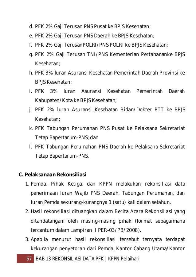 68 BAB 13 REKONSILIASI DATA PFK   KPPN Pelaihari Cabang PT Taspen (Persero), BPJS, dan Sekretariat Tetap Bapertarum-PNS me...