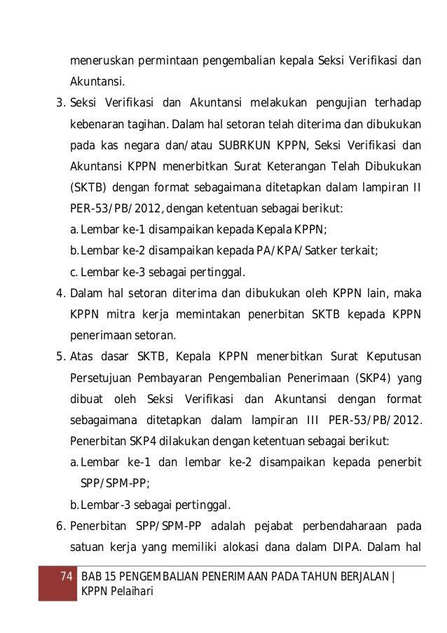 75 BAB 15 PENGEMBALIAN PENERIMAAN PADA TAHUN BERJALAN   KPPN Pelaihari satuan kerja/entitas yang mengajukan permintaan pen...