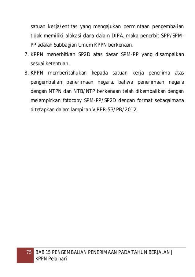 76 BAB 16 PENGEMBALIAN PENERIMAAN ATAS KESALAHAN REKAM/LIMPAH BANK/POS PERSEPSI   KPPN Pelaihari BAB 16 PENGEMBALIAN PENER...