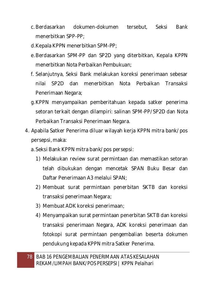 79 BAB 16 PENGEMBALIAN PENERIMAAN ATAS KESALAHAN REKAM/LIMPAH BANK/POS PERSEPSI   KPPN Pelaihari b.KPPN mitra satker pener...