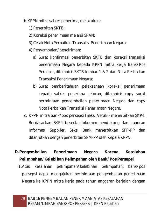 80 BAB 16 PENGEMBALIAN PENERIMAAN ATAS KESALAHAN REKAM/LIMPAH BANK/POS PERSEPSI   KPPN Pelaihari menyampaikan surat permin...