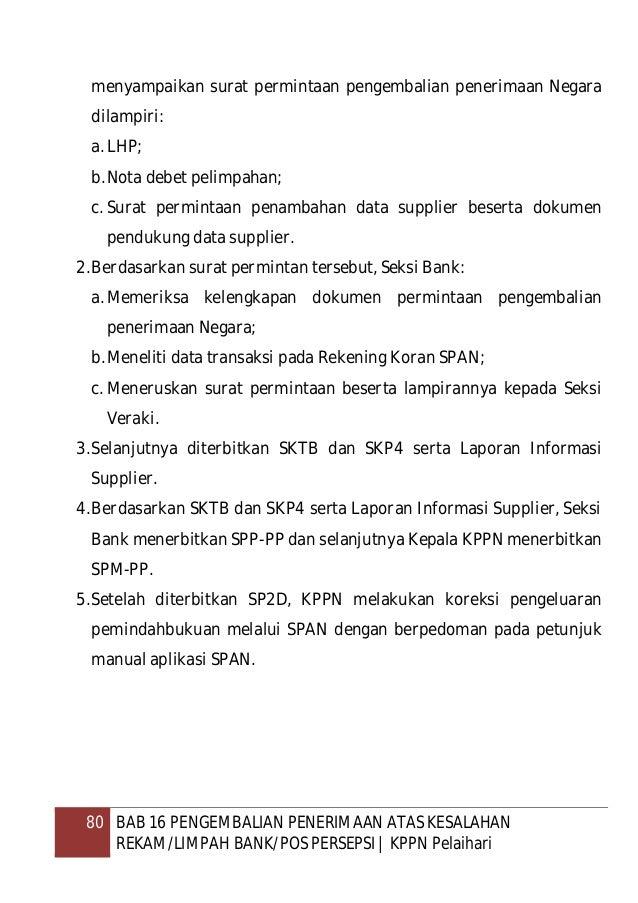 81 BAB 16 PENGEMBALIAN PENERIMAAN ATAS KESALAHAN REKAM/LIMPAH BANK/POS PERSEPSI   KPPN Pelaihari E. Juknis Koreksi Pengelu...