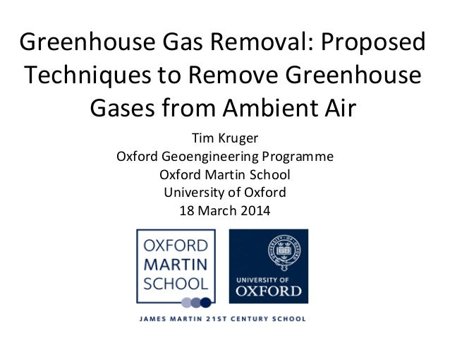 Greenhouse Gas Removal: Proposed Techniques to Remove Greenhouse Gases from Ambient Air Tim Kruger Oxford Geoengineering P...