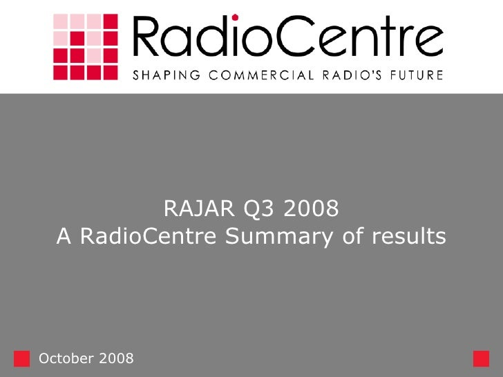 RAJAR Q3 2008 A RadioCentre Summary of results October 2008
