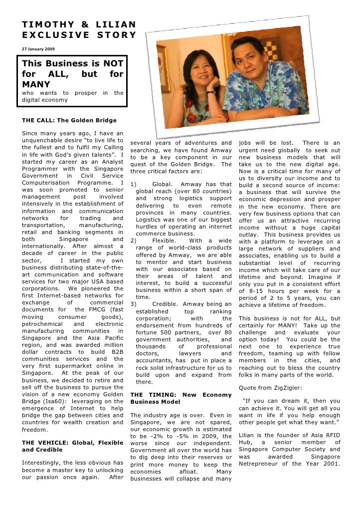 TIMOTHY & LILIAN EXCLUSIVE STORY 27 January 2009   This Business is NOT for ALL, but for MANY who wants to       prosper  ...