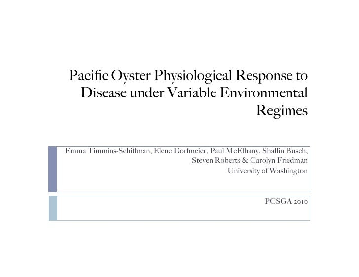 Pacific Oyster Physiological Response to  Disease under Variable Environmental                                Regimes  Emma...