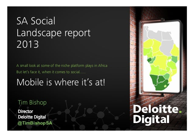 SA Social  Landscape report 2013   Above 100%  A small look at some of the niche platform plays in Africa  60-100%    But ...