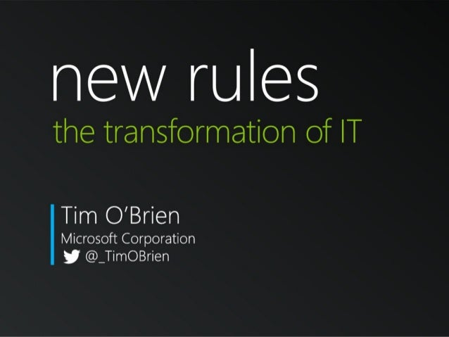 Design2Disrupt Summit: Tim O'brien -  The New Rule of IT