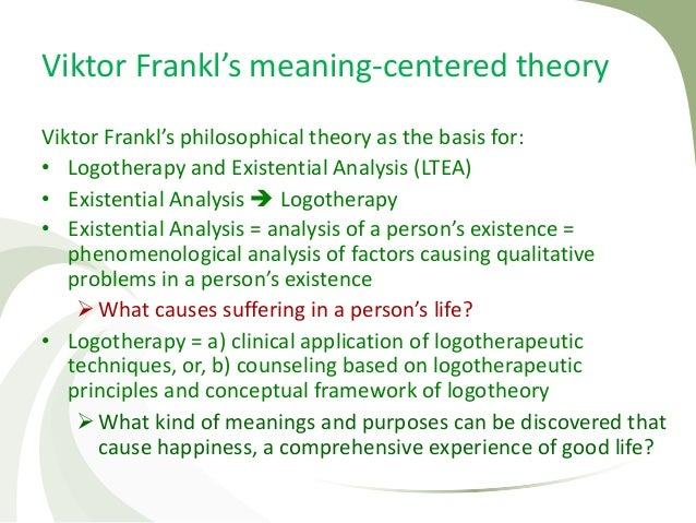 an analysis of the topic of viktor frankls mans search for meaning Breakthrough writer  day of the semester and i've got viktor frankl's man's search for meaning on my  final analysis it becomes clear that the sort.