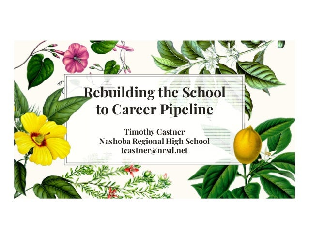 Rebuilding the School to Career Pipeline Timothy Castner Nashoba Regional High School tcastner@nrsd.net