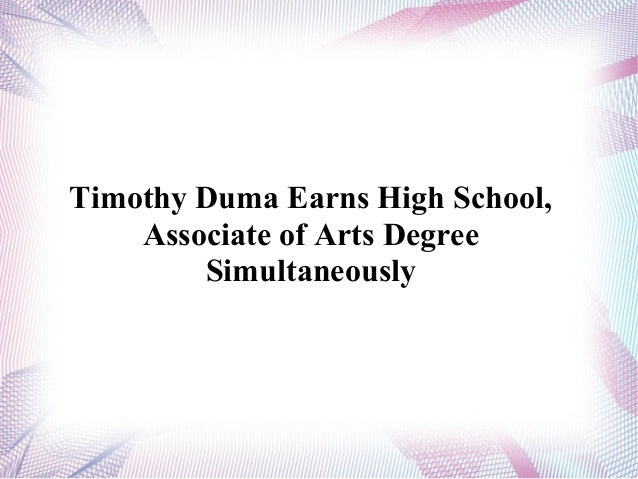 Timothy Duma Earns High School, Associate of Arts Degree Simultaneously