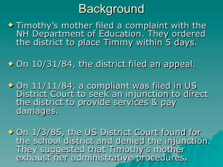 timothy w v rochester school district Special education law--sometimes it's simple: an examination of honig v doe,timothy w v rochester, new hampshire, school district,dellmuth v.