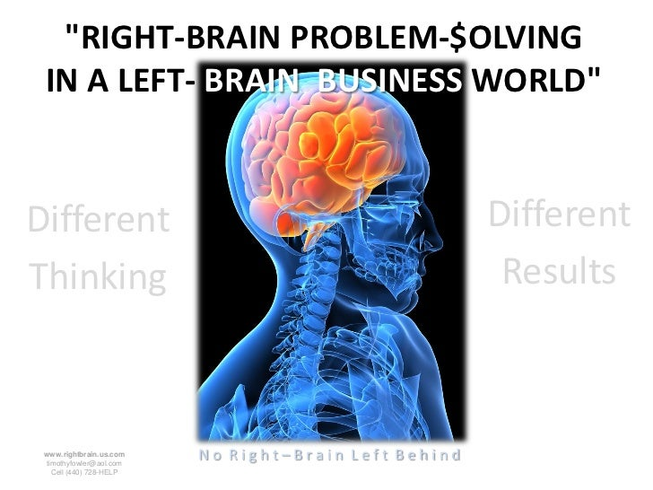 """RIGHT-BRAIN PROBLEM-$OLVING IN A LEFT- BRAIN BUSINESS WORLD""Different                                             Differe..."