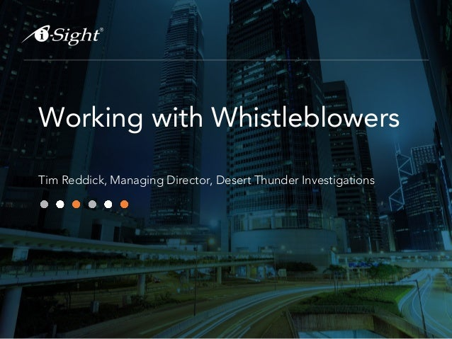 Webinar - Working with Whistleblowers and confidential Informants