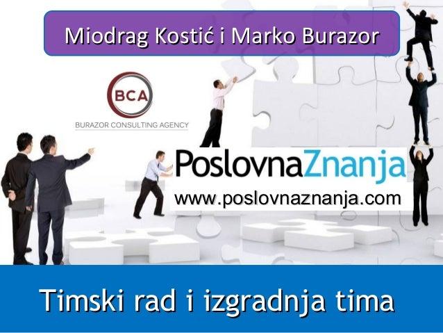 Timski rad i izgradnja timaTimski rad i izgradnja tima Miodrag Kostić i Marko BurazorMiodrag Kostić i Marko Burazor www.ww...