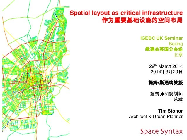 Spatial layout as critical infrastructure 作为重要基础设施的空间布局 IGEBC UK Seminar Beijing 绿建会英国分会场 北京 29th March 2014 2014年3月29日 提姆...