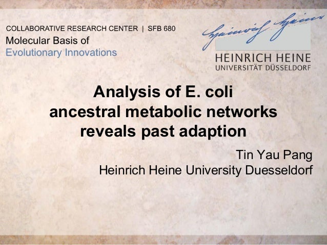 Analysis of E. coli ancestral metabolic networks reveals past adaption Tin Yau Pang Heinrich Heine University Duesseldorf