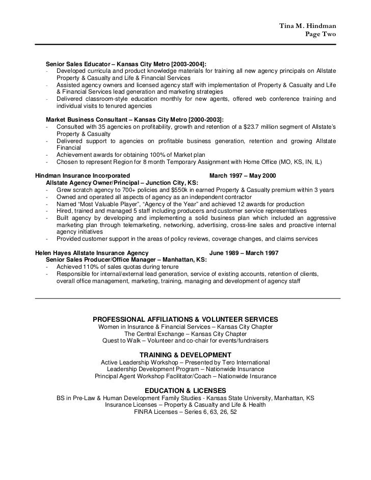 Independent insurance agent resume help