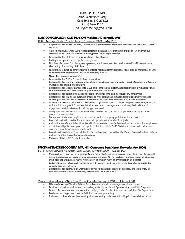 tina w bryant resume and recommendation letter