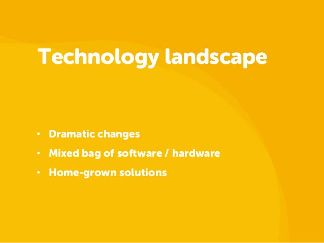 Technology landscape• Dramatic changes• Mixed bag of software / hardware• Home-grown solutions
