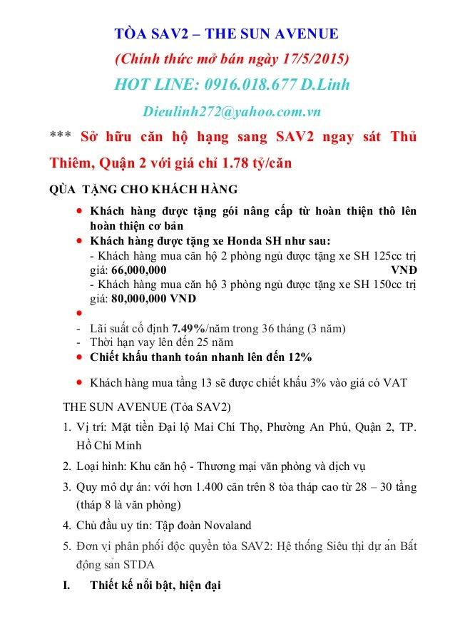 TÒA SAV2 – THE SUN AVENUE (Chính thức mở bán ngày 17/5/2015) HOT LINE: 0916.018.677 D.Linh Dieulinh272@yahoo.com.vn *** Sở...