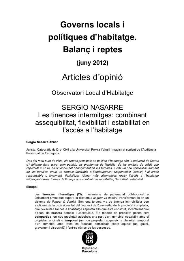 Governs locals i                 polítiques d'habitatge.                     Balanç i reptes                              ...