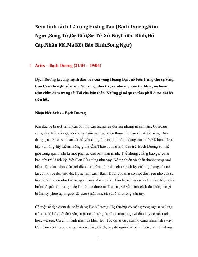 Xem tính cách 12 cung Hoàng đạo (Bạch Dương,Kim Ngưu,Song Tử ...