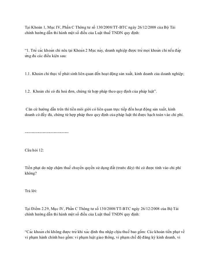 Tại Khoản 1, Mục IV, Phần C Thông tư số 130/2008/TT-BTC ngày 26/12/2008 của Bộ Tàichính hướng dẫn thi hành một số điều của...