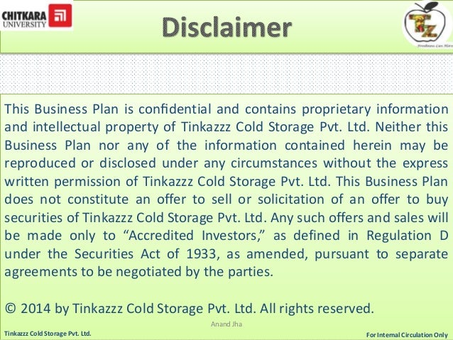 Anand Jha For Tinkazzz Cold Storage Pvt. Ltd. Internal Circulation Only; 5. This Business Plan ...  sc 1 st  SlideShare & Business Planning Cold Storage u0026 Warehouse