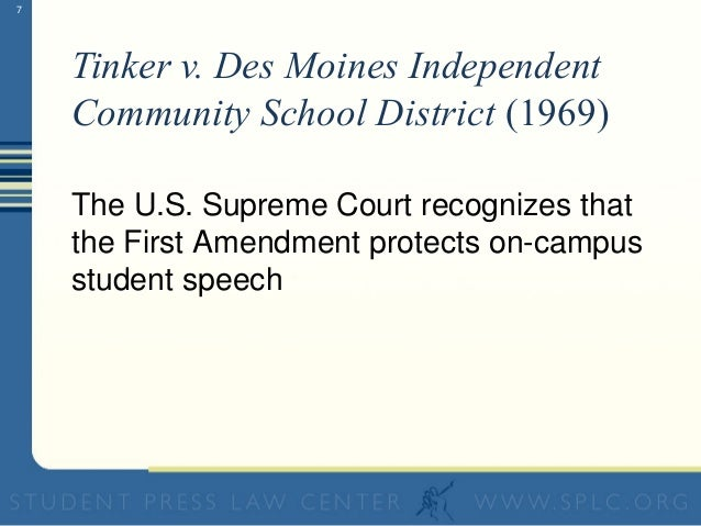 Tinker v  des moines school district amendment
