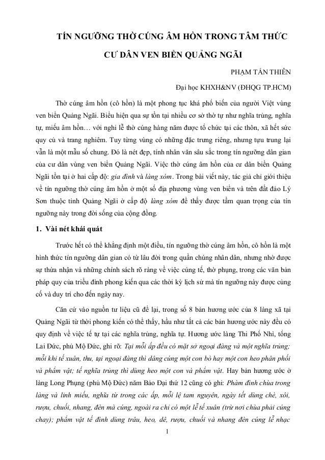 TÍN NGƯỠNG THỜ CÚNG ÂM HỒN TRONG TÂM THỨCCƯ DÂN VEN BIỂN QUẢNG NGÃIPHẠM TẤN THIÊNĐại học KHXH&NV (ĐHQG TP.HCM)Thờ cúng âm ...