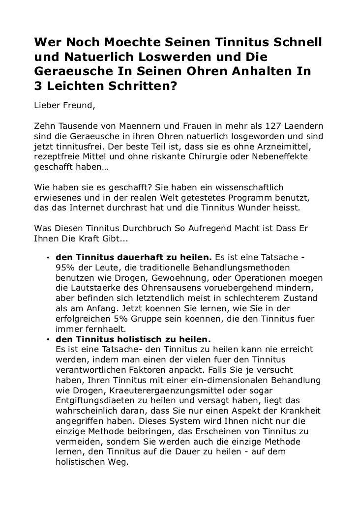 Wer Noch Moechte Seinen Tinnitus Schnellund Natuerlich Loswerden und DieGeraeusche In Seinen Ohren Anhalten In3 Leichten S...