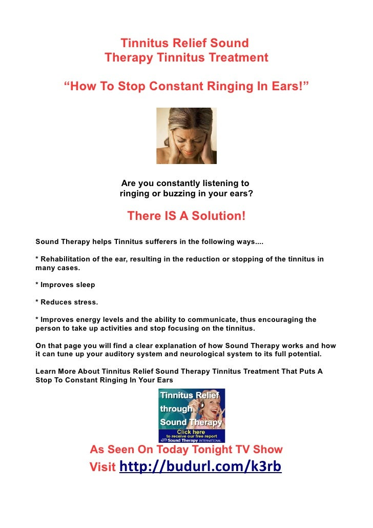 """Tinnitus Relief Sound                    Therapy Tinnitus Treatment        """"How To Stop Constant Ringing In Ears!""""        ..."""