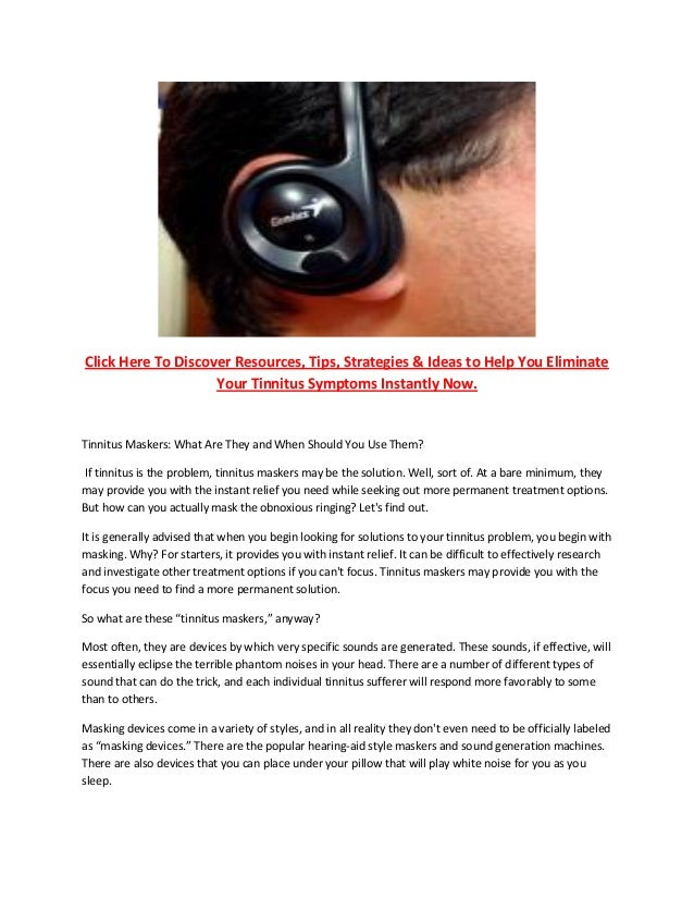 Tinnitus Maskers Hearing Aids
