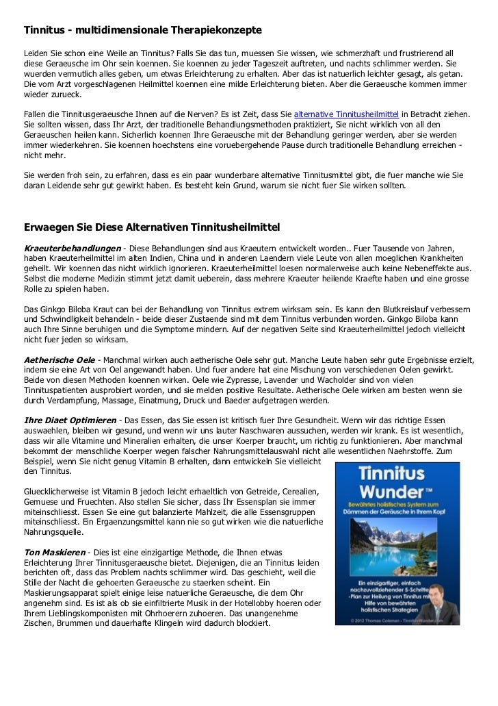 Tinnitus - multidimensionale TherapiekonzepteLeiden Sie schon eine Weile an Tinnitus? Falls Sie das tun, muessen Sie wisse...