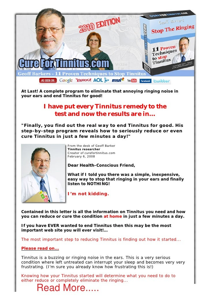 At Last! A complete program to eliminate that annoying ringing noise in your ears and end Tinnitus for good!            I ...