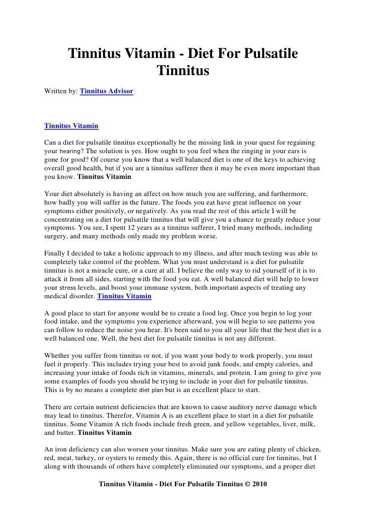 Tinnitus vitamin diet for pulsatile tinnitus