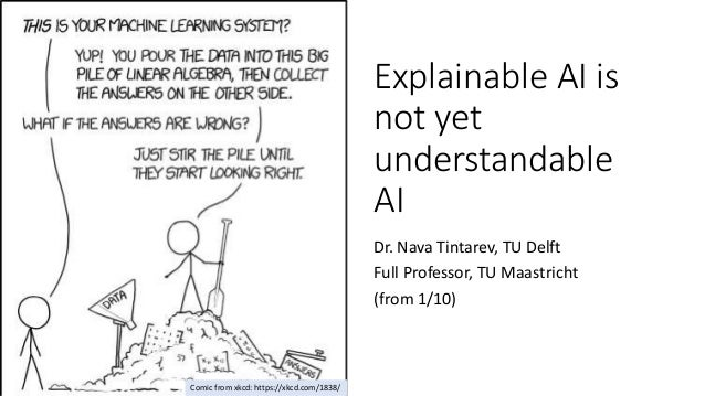 Explainable AI is not yet understandable AI Dr. Nava Tintarev, TU Delft Full Professor, TU Maastricht (from 1/10) Comic fr...
