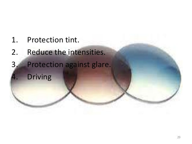 1. Protection tint. 2. Reduce the intensities. 3. Protection against glare. 4. Driving 29