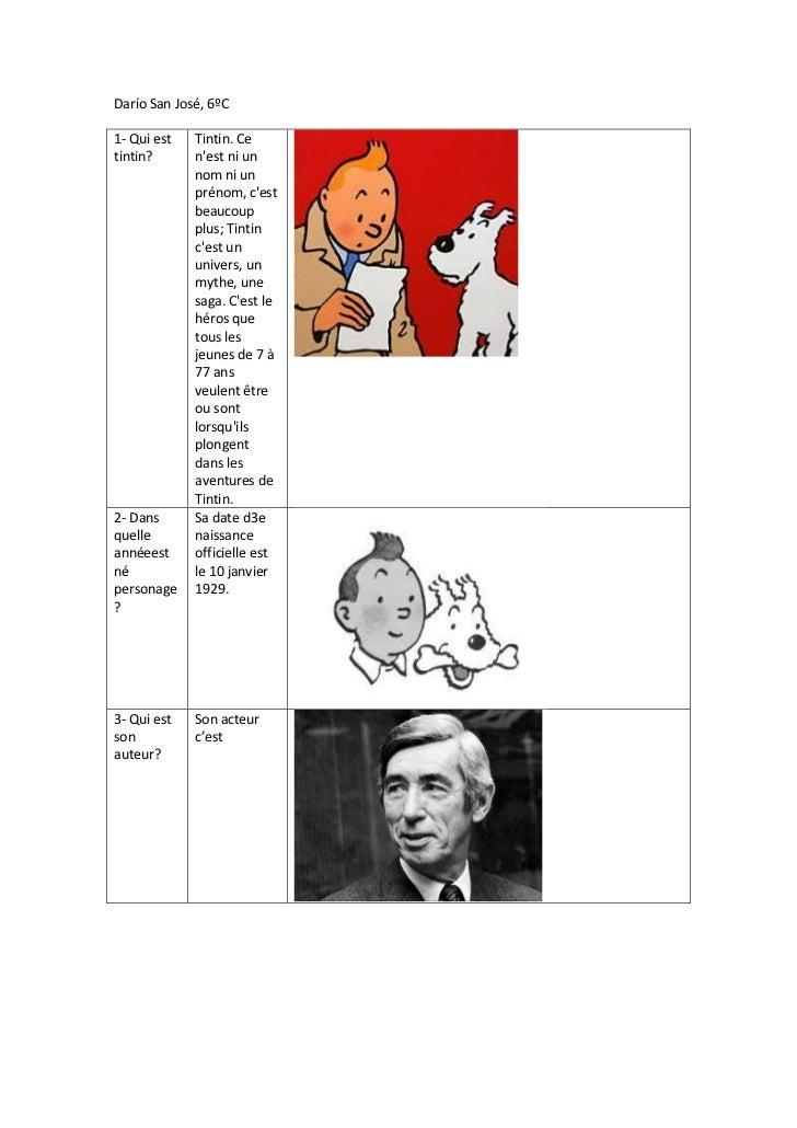 Darío San José, 6ºC1- Qui est   Tintin. Cetintin?      nest ni un             nom ni un             prénom, cest          ...