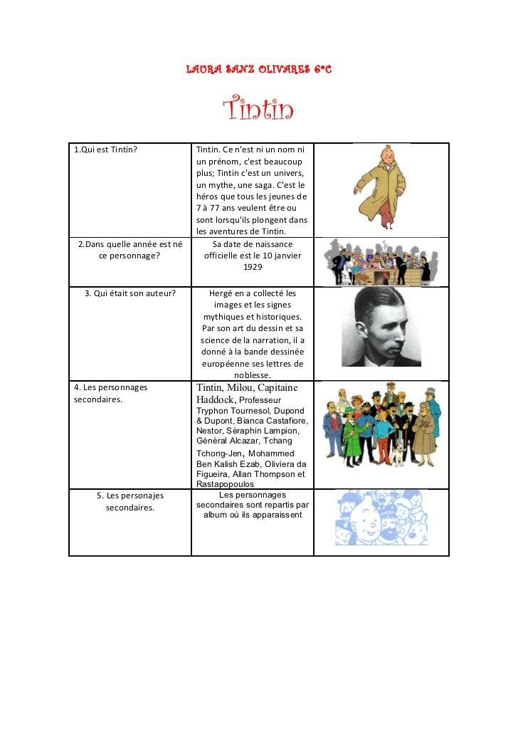 LAURA SANZ OLIVARES 6ºC                                      Tintin1.Qui est Tintín?              Tintin. Ce nest ni un no...