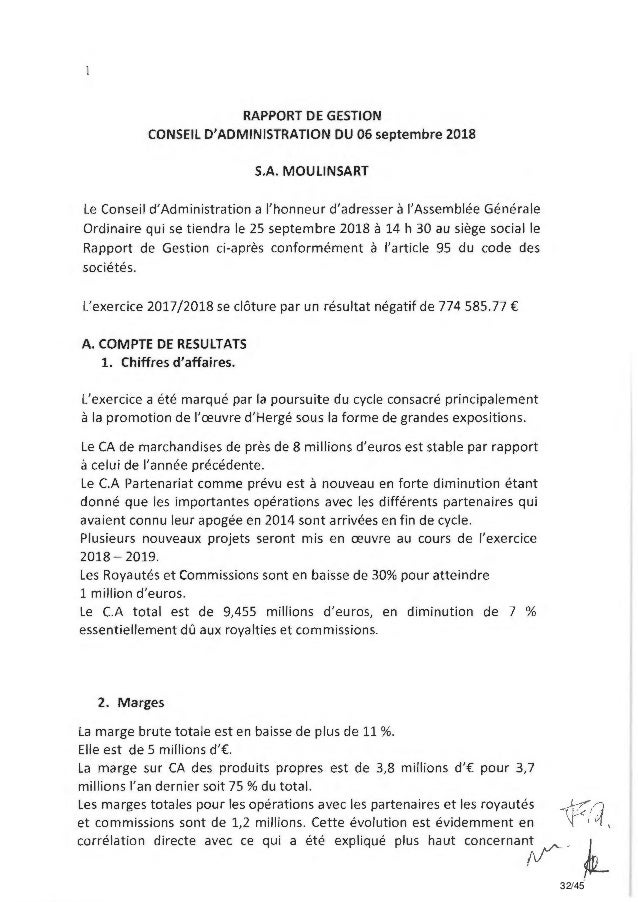 RAPPORT DE GESTION CONSEIL D'ADMINISTRATION DU 06 septembre 2018 S.A. MOULINSART Le Conseil d'Administration a l'honneur d...