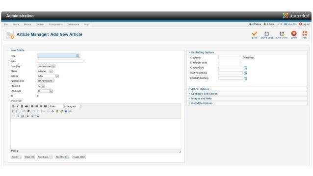 TinyMCE feature – insert template • Create your html file, and copy into /media/editors/tinymce/templates/ folder • (Jooml...