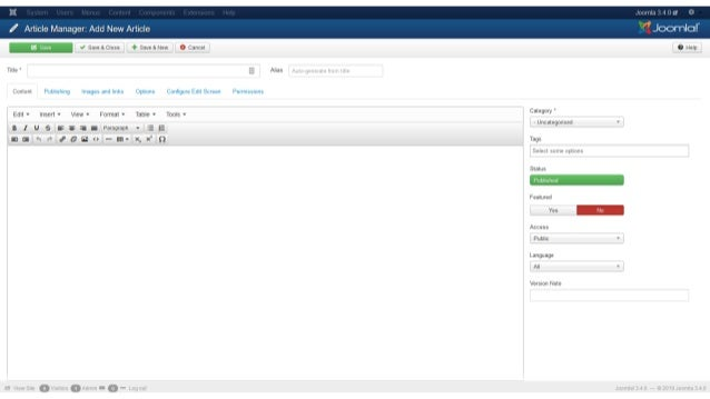 Joomla TinyMCE features (since 3.7.0) • Can customise menus and buttons for three different user sets