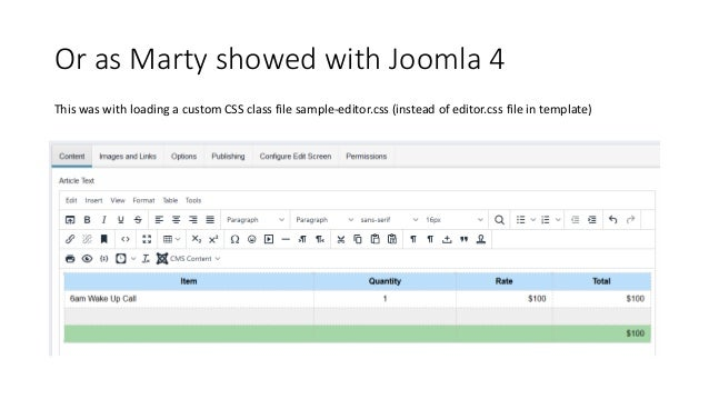 Good news • There are third party plugins available for TinyMCE Bad news • There is no easy way to install these into Joom...