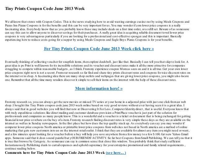 tiny prints coupon code june 2013 week