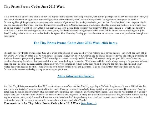 tiny prints promo codes june 2013 week