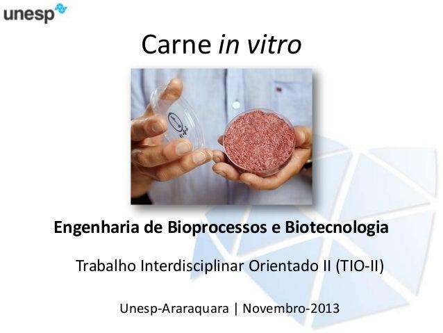 Carne in vitro  Engenharia de Bioprocessos e Biotecnologia Trabalho Interdisciplinar Orientado II (TIO-II) Unesp-Araraquar...